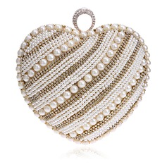 Unique Polyester/Imitation Pearl Clutches/Minaudiere