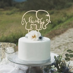 Personalized Birthday/Elephant Acrylic/Wood Cake Topper