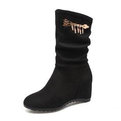 Donna Camoscio Zeppe Punta chiusa Stivali Stivali alla caviglia Stivali altezza media con Nappa scarpe