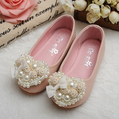 Round Toe Closed Toe Leatherette Flat Heel Flats Flower Girl Shoes With Flower Pearl