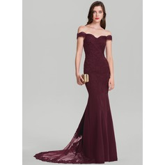 Trumpet/Mermaid Off-the-Shoulder Court Train Satin Evening Dress (017126586)