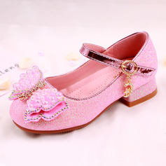 Girl's Round Toe Closed Toe Leatherette Low Heel Flats Sneakers & Athletic Flower Girl Shoes With Bowknot Sparkling Glitter