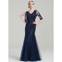 Trumpet/Mermaid V-neck Floor-Length Tulle Mother of the Bride Dress With Beading Appliques Lace Sequins