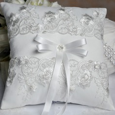 Elegant Ring Pillow in Satin/Cotton With Rhinestones
