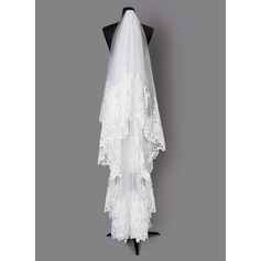 One-tier Lace Applique Edge Fingertip Bridal Veils With Lace (006203702)