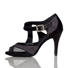 Women's Satin Heels Sandals Latin With Buckle Dance Shoes (053065362)