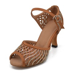 Women's Satin Heels Latin With Rhinestone Dance Shoes (053205401)