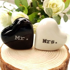 Heart Mr & Mrs. Salt and Pepper Shakers Wedding Favors (Set of 2)