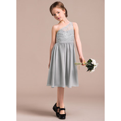 A-Line One-Shoulder Knee-Length Chiffon Lace Junior Bridesmaid Dress (009081132)