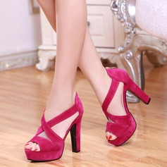 Women's Suede Chunky Heel Sandals Pumps Platform Peep Toe With Zipper Hollow-out shoes (087124457)