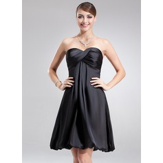 Empire Sweetheart Knee-Length Charmeuse Homecoming Dress With Ruffle (022003348)