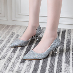 Women's Sparkling Glitter Low Heel Closed Toe Pumps With Sparkling Glitter
