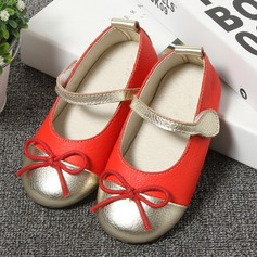 Girl's Round Toe Closed Toe Patent Leather Flat Heel Flats Flower Girl Shoes With Bowknot Velcro