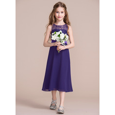 A-Line/Princess Scoop Neck Tea-Length Chiffon Junior Bridesmaid Dress (009097061)