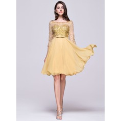 A-Line/Princess Off-the-Shoulder Knee-Length Chiffon Homecoming Dress With Beading Sequins Bow(s) (022068111)