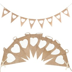 Heart Shaped Hemp Rope/Linen Banner