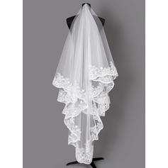 One-tier Lace Applique Edge Elbow Bridal Veils With Lace (006203715)