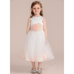 A-Line/Princess Tea-length Flower Girl Dress - Satin/Tulle Sleeveless Scoop Neck With Flower(s) (Detachable sash)