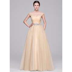 Ball-Gown V-neck Floor-Length Prom Dress With Ruffle Beading Appliques Lace Sequins