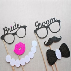 Vintage Bride and Groom Card Paper Photo Booth Props (6 pieces)