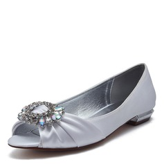 Women's Satin Flat Heel Flats Peep Toe Sandals With Crystal