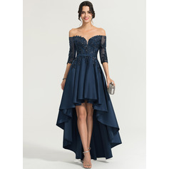 A-Linie Off-the-Schulter Asymmetrisch Satin Abendkleid mit Pailletten (017167716)