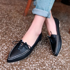 Women's Leatherette Flat Heel Flats Closed Toe With Lace-up shoes