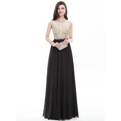 A-Line/Princess Scoop Neck Floor-Length Chiffon Prom Dress With Beading Sequins (018107789)