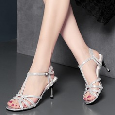 Women's Microfiber Leather Stiletto Heel Sandals Beach Wedding Shoes With Buckle
