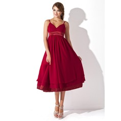 Empire Sweetheart Knee-Length Chiffon Maternity Bridesmaid Dress With Ruffle (045004378)