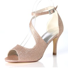 Women's Sparkling Glitter Stiletto Heel Pumps Sandals With Buckle (047195489)