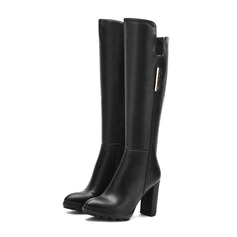 Women's Leatherette Chunky Heel Pumps Knee High Boots With Sequin Zipper shoes (088103932)