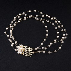 Nice Alloy/Imitation Pearls Headbands (Sold in single piece)