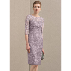 Sheath/Column Scoop Neck Knee-Length Lace Mother of the Bride Dress (008152119)