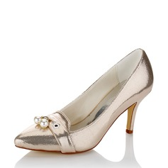 Women's Leatherette Spool Heel Pumps With Imitation Pearl