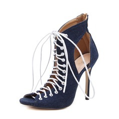Women's Denim Stiletto Heel Sandals Pumps Peep Toe With Zipper Lace-up shoes