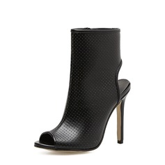 Women's PU Stiletto Heel Pumps Boots Peep Toe Slingbacks Ankle Boots With Zipper shoes
