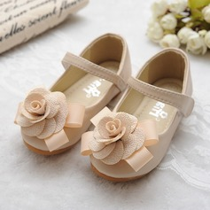 Jentas Round Toe Mary Jane Leather flat Heel Flate sko Flower Girl Shoes med Bowknot Sateng Sløyfe Velcro (207112418)