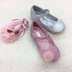 Round Toe Closed Toe Leatherette Sparkling Glitter Flat Heel Flats Flower Girl Shoes With Bowknot Feather