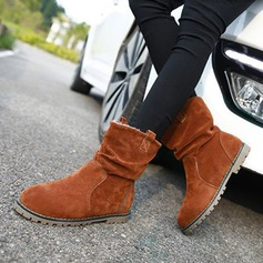 Women's Suede Flat Heel Flats Boots Snow Boots With Ruffles shoes