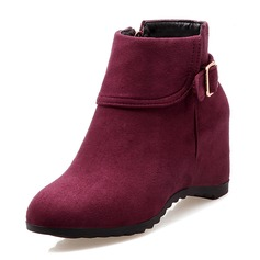 Women's Suede Wedge Heel Closed Toe Boots Ankle Boots With Buckle shoes