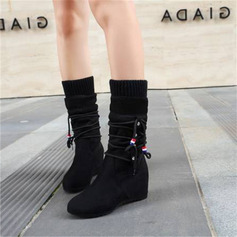 Women's Suede Wedge Heel Mid-Calf Boots With Lace-up shoes