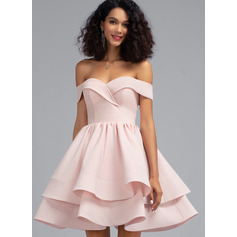 A-Line Off-the-Shoulder Short/Mini Stretch Crepe Homecoming Dress With Cascading Ruffles (022203116)