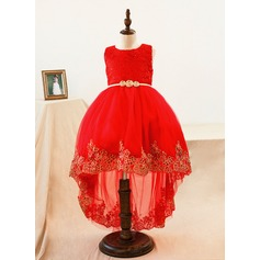 Ball Gown Asymmetrical Flower Girl Dress - Lace Sleeveless Scoop Neck With Lace/Bow(s)