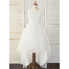 A-Line Asymmetrical Flower Girl Dress - Tulle/Lace Sleeveless Scoop Neck
