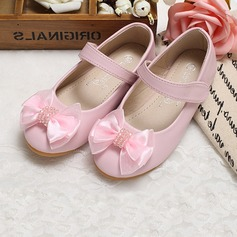 Girl's Closed Toe Leatherette Flat Heel Flats Flower Girl Shoes With Bowknot (207095555)