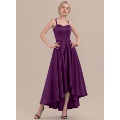 A-Line Sweetheart Asymmetrical Satin Cocktail Dress