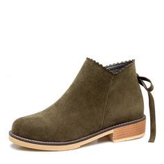 Kvinnor Mocka Låg Klack Stövlar Boots med Zipper skor