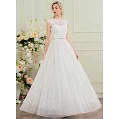 A-Line/Princess Scoop Neck Floor-Length Organza Lace Wedding Dress With Beading Sequins (002095820)