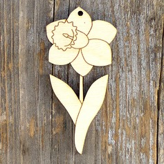 Unfinished  Blank Flower Wooden Cutouts Ornaments to Paint (Set of 10)